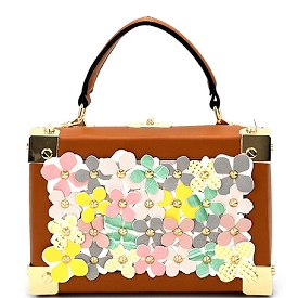 S87248 Studded Multi-Color Flower Embellished Box Satchel Brown